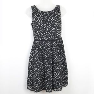 GAP Heart Print Pleated Fit and Flare Dress Black
